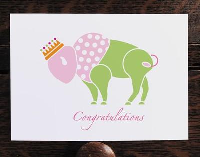Buffalo Princess Congratulations Card